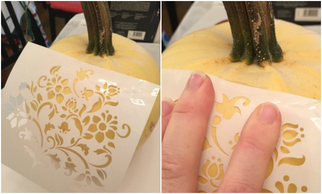 Attach Stencil - painted pumpkins