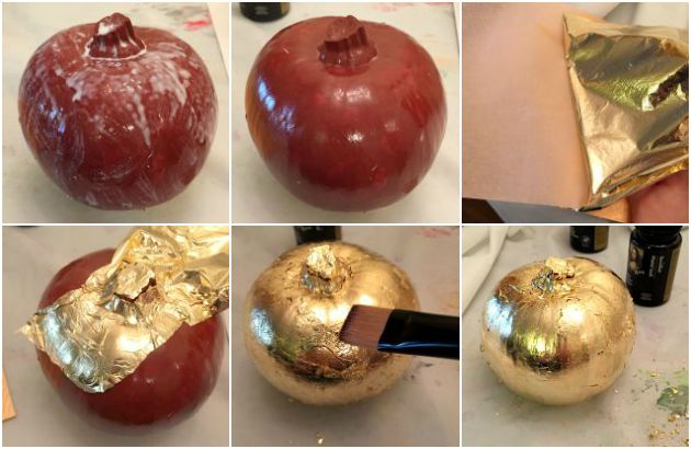 How to Apply Gold Leaf to Pumpkins