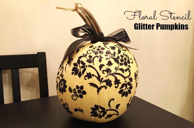 Floral Stencil Glitter Pumpkins Tutorial
