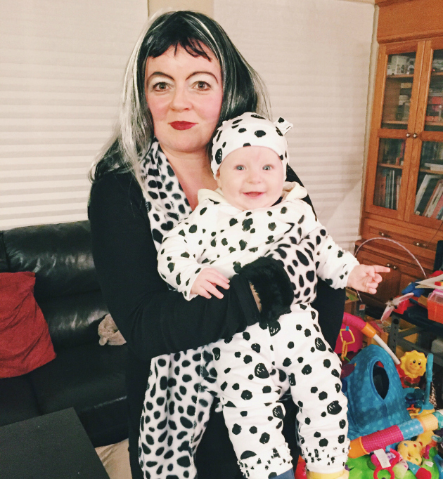 Cruella DeVille and 1 Dalmatian Mom and Baby Costume