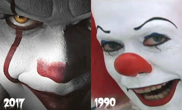 Pennywise Clown Makeup 2017 vs 1990
