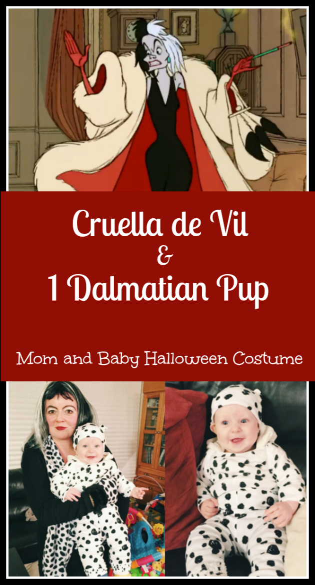 cruella de vil and dalmatian mom and baby halloween costume